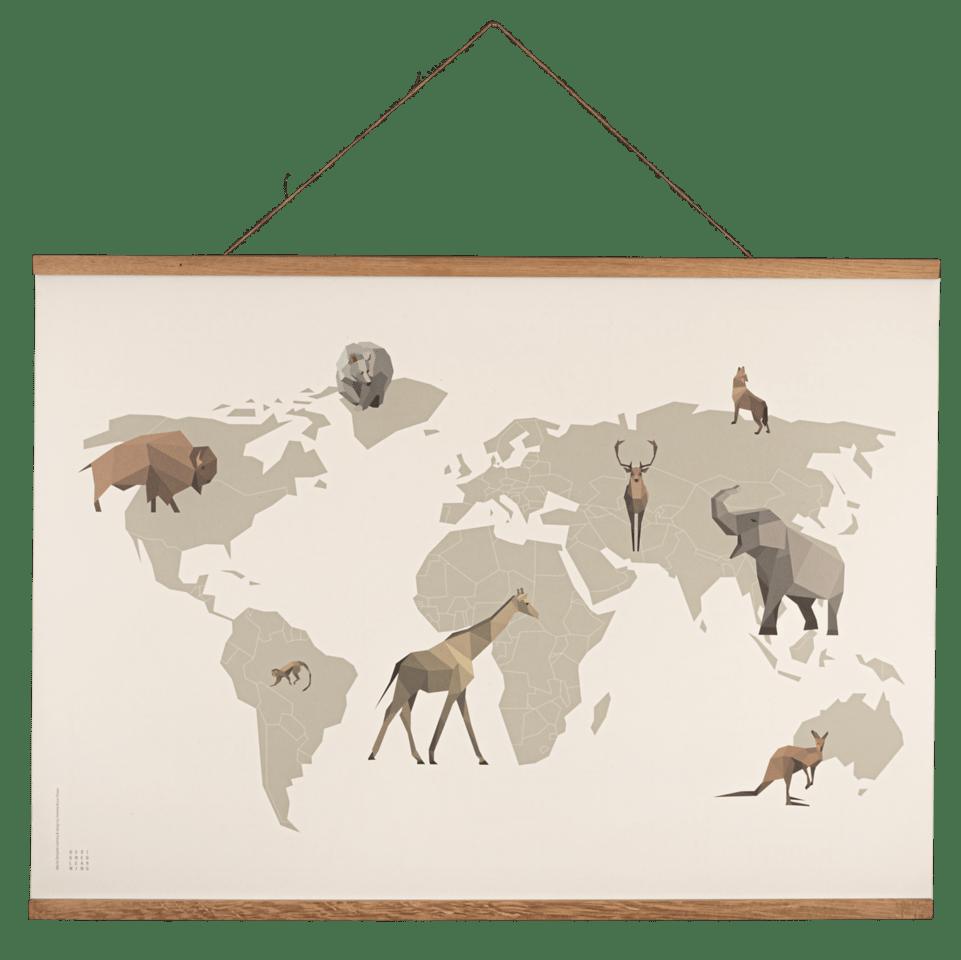 verdenspakken, verden med dyr, verdensplakat, læringsplakat